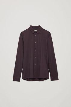 Cos Long-sleeved Jersey Shirt In Purple Cos Man, Mens Modern Clothing, Modern Wardrobe, Jersey Shirt, Menswear, Man Shop, Mens Fashion, Cotton, How To Wear