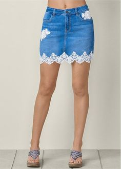 Plus Size Lace Detail Jean Skirt Kleidung Design, Diy Kleidung, Lace Jeans, Denim And Lace, Trendy Swimwear, Jeans Rock, Embellished Jeans, Denim Fashion, Fashion Fashion