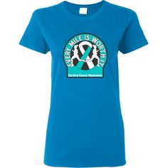 Every Mile Is Worth It Cervical Cancer shirts and gifts spotlighting a bold awareness ribbon and dual female silhouettes walking, jogging or running for Cervical Cancer awareness.  #CervicalCancer #CervicalCancerWalk #CervicalCancerAwareness