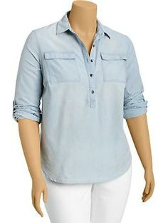 Womens Plus Roll-Sleeve Chambray Shirts