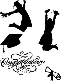 Graduate Silhouettes SVG love the scrolling on the lettering Silhouette Images, Silhouette Design, Silhouette Machine, Silhouette Files, Shilouette Cameo, Graduation Cards, Graduation Images, Graduation Scrapbook, Graduation Theme