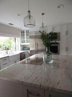 Granite Countertop river white granite countertops - Check Out 25 Granite Kitchen Countertops That You'll Love. White Granite Countertops, Outdoor Kitchen Countertops, Granite Kitchen, White Kitchen Cabinets, Kitchen Redo, New Kitchen, Kitchen Ideas, Kitchen White, Gray Granite