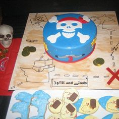 Renee A's Birthday / Pirate dress up party - Pirate Party - Josh & Will's Birthday Bash at Catch My Party Pirate Birthday Cake, Pirate Party, Pirate Cakes, 4th Birthday Parties, Birthday Bash, Birthday Ideas, Treasure Map Cake, Pirate Dress Up, Childrens Party