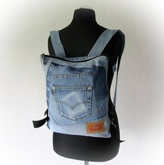 Recycled light blue jeans backpack, unisex denim backpack, hipster jean rucksack, patchwork backpack, wabi sabi style, made with old jeans