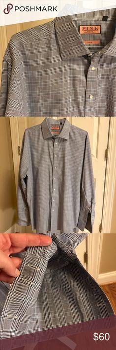 Navy/Cobalt/White Plaid Thomas Pink Dress Shirt Navy/Cobalt/White Prince of Wales Plaid Thomas Pink Prestige dress shirt with French cuffs.  Sizing:  18 - 35 1/2. Thomas Pink Shirts Dress Shirts