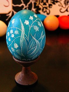 Easter Month of May Flower Lily of the Valley Teal Scratched Egg European Lithuanian Pysanky