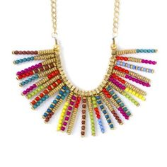 Seed Bead Stick Statement Necklace