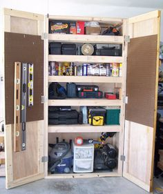 Workshop cabinet plans workshop storage plans projects shop cabinet cabinets used rolling shop cabinet plans shop Diy Garage Storage, Diy Garage Shelves, Storage Shelves, Locker Storage, Garage Organization, Garage Cabinets Diy, Storage Ideas, Shelf Display, Workshop Organization