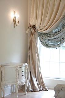"The Adventures of Elizabeth: My Latest Cyber ""Refrigerator"" Creation! the way the drapes puddle. Window Coverings, Window Treatments, Home Design, Interior Design, Design Design, Curtains With Blinds, Gold Curtains, Valances, Curtain Designs"