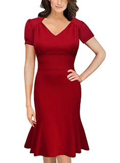 OWIN Women's V-neck Short Sleeve Evening Cocktail Party Knee Length Mermaid Dress ,Red ,Small. V-Neck,Cap Sleeve. Fitting Style,Vintage Cutting,Below Knees. Please follow the size chart that we provided. Hand Wash Only,Low Temperature for Ironing. Suit for Casual Outdoor, Party,Wedding.