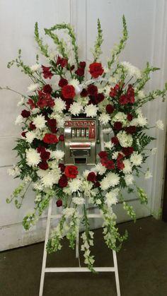 slot machine flower arrangement
