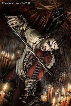 """Like Nicholas from Anne Rice's """"The Vampire Lestat"""". Really, doesn't every vampire play the violin? (Does this make Sherlock Holmes a vampire. Vampire Love, Gothic Vampire, Vampire Art, Dark Gothic, Vampire Music, Vampire Pics, Vampire Images, Vampire Tattoo, Gothic Angel"""