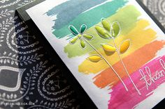 Rainbow Strokes With Flowers - Make a Card Monday #276