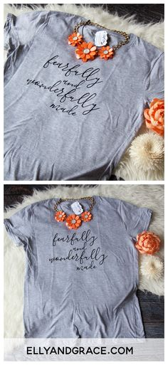 Fearfully and Wonderfully Made Classic Short Sleeve Shirt I praise you because I am fearfully and wonderfully made; your works are wonderful, I know that full well. Shown here in the heather grey with black font. Christian Clothing, Christian Shirts, T Shirts With Sayings, Cute Shirts, How To Make Shorts, How To Wear, Casual Outfits, Cute Outfits, Jesus Shirts