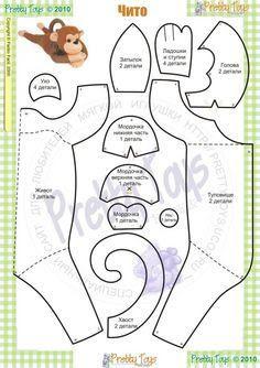 Moldes e Apostilas para Artesanato: Plushie Patterns, Animal Sewing Patterns, Softie Pattern, Felt Patterns, Stuffed Animal Patterns, Diy Stuffed Animals, Softies, Plushies, Monkey Pattern