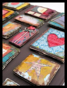 painted cardboard would look neat as a paper crazy quilt and then framed Mixed Media Collage, Mixed Media Canvas, Collage Art, Art Collages, Inchies, Paper Art, Paper Crafts, Pocket Letters, Artist Trading Cards