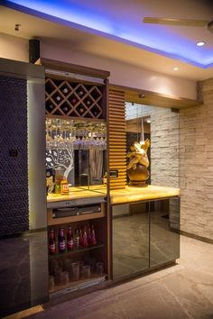 Browse through bar photos for a variety of architectural designs and bar ideas. Small House Interior Design, Design Your Dream House, House Design, Small Bars For Home, Modern Bar, Modern Home Bar Designs, Home Bar Rooms, Bar Counter Design, Home Bar Cabinet
