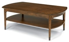 Flexsteel Gemini Mid Century Rectangular Cocktail Table with Aged Metal Leg Caps - Colder's Furniture and Appliance - Cocktail or Coffee Table Milwaukee, West Allis, Oak Creek, Delafield, Grafton, and Waukesha, WI