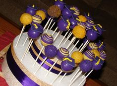 Purple and Gold Graduation Cake Pops - cake pops for a friends son's graduation party. used his school colors.