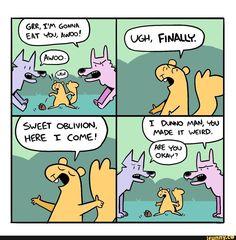 Funny Memes About Girls, Stupid Funny Memes, Funny Fails, Hilarious, Cute Comics, Funny Comics, Wolf Comics, Comics Story, Short Comics