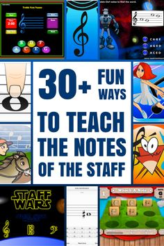 Fun Ways To Teach The Notes of The Staff Using Technology Music Apps Everywhere! A great list of resources for teaching note namesMusic Apps Everywhere! A great list of resources for teaching note names Music Games, Music Activities, Music Education Games, Music Theory Games, Physical Activities, Piano Lessons, Music Lessons, Guitar Lessons, Middle School Music