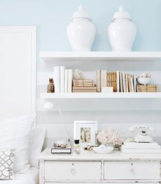 I love the idea of installing a couple open shelves over the bedroom nightstand!
