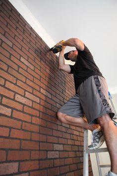 Green Accent Walls, Brick Accent Walls, Faux Brick Walls, Restoration Hardware Kids, Porches, Pallet Accent Wall, Brick Wall Paneling, Stone Wall Design, Brick Interior