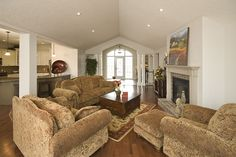 Great room opens up to kitchen, dining, & foyer....great furniture placement...  www.qualityhomes.ca