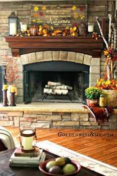 Fall decor- basket and candle holder placement-good idea for our enormous hearth