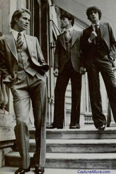 Men's suits, Pierre Cardin, 1978. #vintage