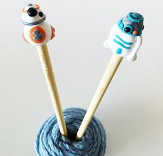 Knit in style with these Star Wars inspired R2D2 and BB-8 Droid ClayTop Knitting Needles. See our other knitting needle sets, stitch markers, and patterns at Knitspo, our shop on Etsy.