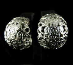 L H Segal Signed Earrings Vintage Silver Tone Filigree Hoops   eBay