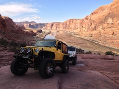2005 Jeep Rubicon Unlimited on the Moab Rim Trail at the 2013 Easter Jeep Safari in Moab, UT