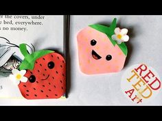 Kawaii Strawberry Bookmark Corner - Easy Paper Crafts - Shopkins inspired - YouTube