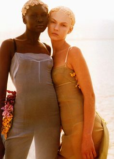 Alek Wek and Angela Lindvall wearing Dolce & Gabbana - Spring 1999. Photographed by Herb Ritts for Vogue Paris