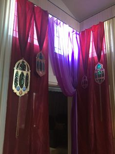 Andrea's Arabian Nights: My own props: drapes and cardboard lamps cutouts... in progress