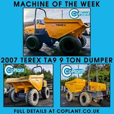 Our latest machine of the week is this powerful 9 ton Terex dumper. This machine is in very good condition and ready to start work, so call today on 01303 844447 to take a look for yourself! Full details available at  http://www.coplant.co.uk/shop/dumpers/terex-ta9-9-ton-dumper-2007/