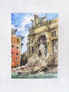 Fontana di Trevi Rome Italy Ink and watercolor on paper | Etsy Beautiful Artwork, Cool Artwork, Ink Painting, Watercolor Paintings, Paper Tags, Urban Sketching, Rome Italy, Watercolor And Ink, My Works