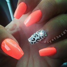 Orange and leopard print with gems Instagram media by riyathai87 #nail #nails #nailart