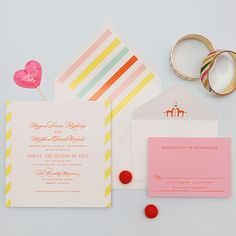 """Brides.com: . A Playful, Colorful Wedding Invitation. """"Love is Sweet"""" invitation suite, $1,500 for 100 flat-printed invitations, Cheree Berry Paper  See more whimsical wedding invitations."""