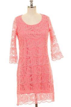 Women's Coral Lace Dress-2/3 Sleeve - Keffeler Kreations | HilltopBoutique.com - 1