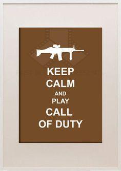 Keep Calm and Play Call Of Duty, 5x7 Custom Digital Wall Art, Customizable Colors, video game art, Digital Wall Art