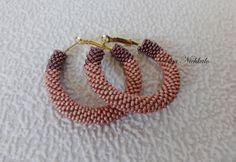 Beaded Hoop Earrings Beige Dark Beige Beadwork Seed Beads Earrings Beaded Jewelry Geometric Earrings Modern earrings Fancy jewelry by Dianabiser on Etsy