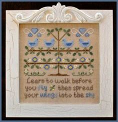 """Walk Before You Fly"""" is the title of this delightful cross stitch pattern from Country Cottage Needleworks that says it all! Walk Before Yo..."""