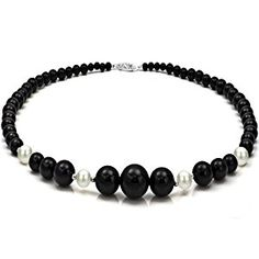 """4-16mm Graduated Black Onyx and 8-9mm White Cultured Freshwater Pearl Necklace 18"""" length with 3mm Sterling Silver Beads and Filigree Clasp. http://electmejewellery.com/jewelry/necklaces/pearl-strands/416mm-graduated-black-onyx-and-89mm-white-cultured-freshwater-pearl-necklace-18-length-with-3mm-sterling-silver-beads-and-filigree-clasp-com/"""