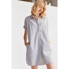 Ecote Yarn Dyed Button-Down Shirt Dress (280 RON) ❤ liked on Polyvore featuring dresses, rayon dress, long shirt dress, button down dress, shirt dresses and t-shirt dresses