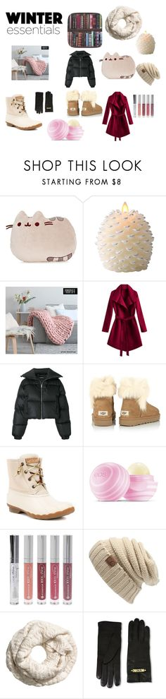"""""""Winter essentials"""" by kjfigueroa ❤ liked on Polyvore featuring Gund, Luminara, MISBHV, UGG, Sperry, Eos, Forever 21, Moschino, Graham & Brown and winteressentials"""