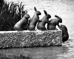 [Image #3 of Week: Oct 7th - Oct 11th] This is a sculpture in Söderköping River, Sweden. I just really enjoy the little children's tale that is being told. No words are necessary to ascertain the meaning of the piece, and it's quick simple too. So cute!