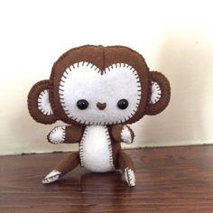 Wool felt monkey / stuffed monkey / plush monkey toy / brown monkey / monkey nursery decor / toy gift by EverSewNice on Etsy