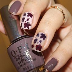 Beautiful fall manicure by @simplyjary using our Autumn Leaf Nail Stencils found at snailvinyls.com